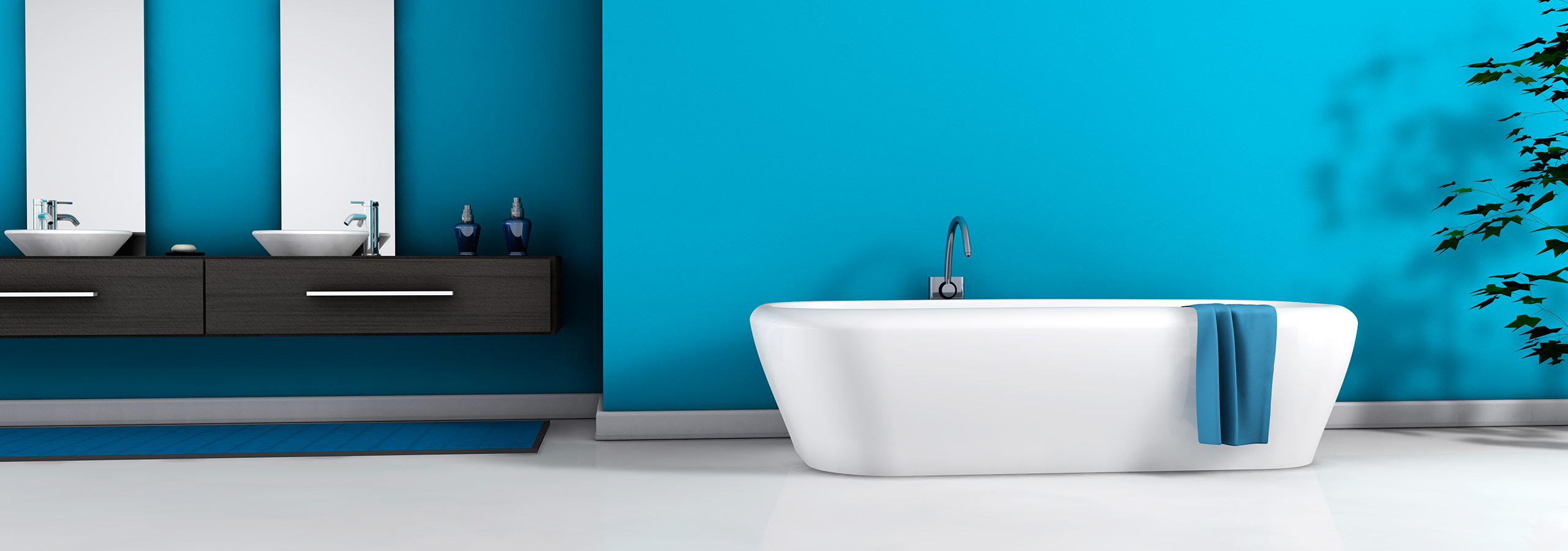 3D Render of a Bathroom with Blue Walls
